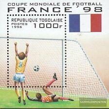 Togo Bloque 392 nuevo con goma original 1996 Fútbol-WM ´98, Francia