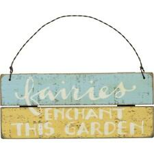 Rustic Outdoor Plaque With Fun 'Fairies Enchant This Garden' Design