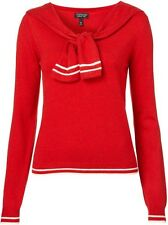 Topshop Red Knitted Sailor Tie Top UK10 US6