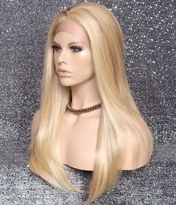 Long Straight Human Hair Blend Mono Top Lace Front Wig Blonde mix 613-27 WBDL