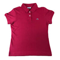 Lacoste Womens Red Polo T shirt Top | Size 40 UK 12