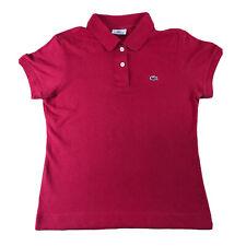 Polo LACOSTE Para Mujer Rojo Camiseta Top | Talla 40 Reino Unido 12