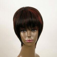perruque femme afro 100% cheveux naturel courte méchée noir/rouge KITTY 01/1b410