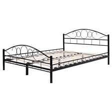 queen size wood slats steel bed frame platform headboard footboard bedroom black