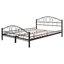 Queen Size Wood Slats Steel Bed Frame Platform Headboard Footboard Bedroom Black