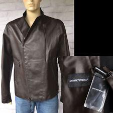 EMPORIO ARMANI New sz 56 46 Mens Designer Leather Biker Coat Jacket Brown $2325