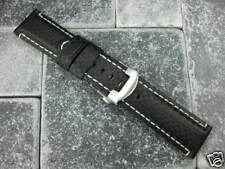 24mm Black Carbon Leather Strap Deployment Buckle Extra Large PAM 1950I L