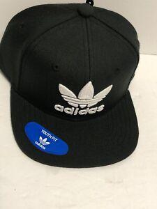 Adidas Youth Originals Trefoil Chain Snapback Hat Cap Black/White CI1357 (po)