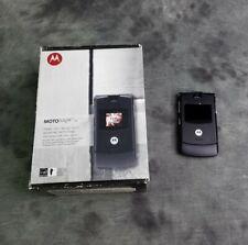 New listing Motorola Razr V3A Black Flip Mobile Cell Phone With Box Camera
