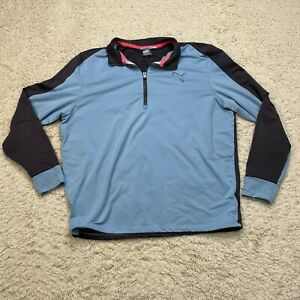Puma Jacket Men XLarge Blue Quarter 1/4 Zip Pullover Windbreaker Coat Adult