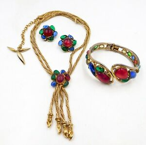 Signed Carnegie Poured Glass Gripoix Style Necklace Earrings Bracelet Set