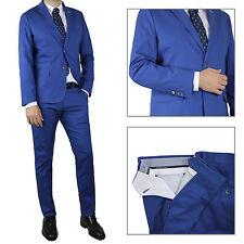 Vestito Da Uomo blu Navy Elegante Slim Fit Abito Cotone cerimonia Sartoriale