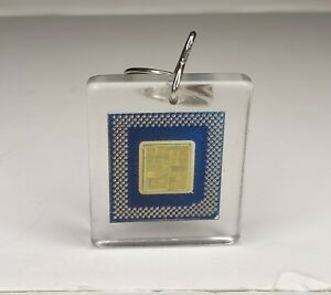 Intel Inside Pentium Processor 1995 Keychain Acrylic w/ genuine microchip inside