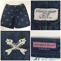 Vineyard Vines Men's 32 Blue Flat Front Casual Chino Shorts Fish Crossbones Logo