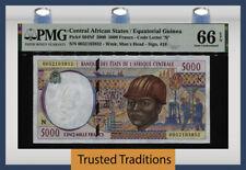 TT PK 504Nf 2000 CENTRAL AFRICAN STATES / EQUATORIAL GUINEA 5000 FRANCS PMG 66Q!