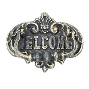 Cast Iron Ornate Weathered Brass Welcome Front Door Knocker Rustic Home Decor