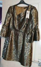 Womens Karen Millen Gold Dress Size Uk 14 Bnwt Rrp £180