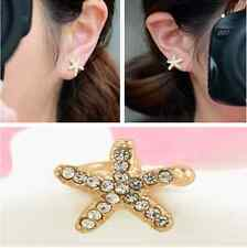 1PC Charm Crystal Lovely Starfish Women Personality Ear Clip Cuff Earring Stud