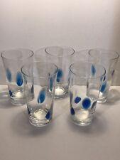 5 Cobalt Art Glass Etched Drinking Glasses - Snail Swirl - Hand Blown