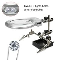 LED Helping Hand Clamp Magnifying Glass Soldering Stand Magnifier Jewelry Tool