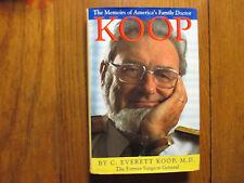 "C. EVERETT KOOP(Died-2013)Signed index card w/Book-""KOOP""-1991 1st Edit Hardback"
