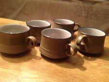 Attractive Set Of 5 Stoneware Ceramic Grey Tea Mugs
