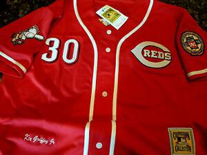 Brand New RED Cincinnati Reds #30 Ken Griffey Jr.Throwback 2patch sewn Jersey