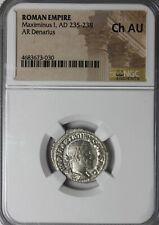 Ancient Roman Coin Maximinus I Thrax 236 AD AR Silver Denarius NGC CH AU
