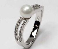925 ECHT SILBER RHODINIERT *** Perlen Zirkonia Ring, Gr. 54, 60