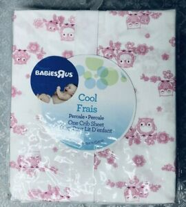 Babies R Us Cool Fitted Crib Sheet White Pink Owls Percale 100% Cotton NIP 2014