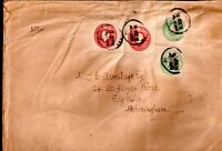 GB KGV 1919 Postal Stationery cut outs on large cover WS7131