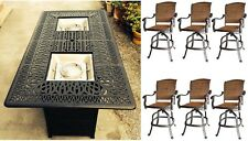 Bar height fire pit table set propane 7 piece outdoor cast aluminum patio wicker