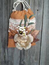 Burlap, lace dollar dance bridal money bag, Boho, hippie, rustic, leaves, autumn