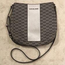 Michael Kors Womens Gray & Silver Travel Messenger Hobo Bag Crossbody Purse EUC