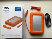LaCie Rugged 500GB Thunderbolt and USB 3.0 SSD Portable Hard Drive