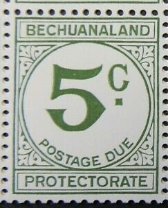 BECHUANALAND PROTECTORATE 1961 SGD12 5c. GREEN POSTAGE DUE  -  MNH