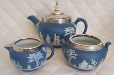 More details for wedgwood dark blue jasperware teaset silver hallmarked edged