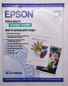 """Epson Glossy Photo Paper - 20 Sheets - Letter 8.5"""" x 11"""" - 141gsm 90 ISO Inkjet"""
