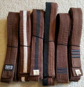 Lot of 6 Martial Art Belt Kenpo Karate Teen Adult Size Brown Belt Progression