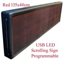 New Red Programmable USB LED Message Scrolling Digital Display Sign 130x38cm Red
