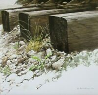 Vintage Art Robert Bateman By The Tracks Railroad Ties Dandelion Weed Shore Rock