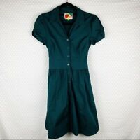 Modcloth Women Dress Sz M Fervour Green Button Down Pin Up 50s Tie Waist Pockets