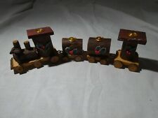 Vintage Christmas Wood Handcrafter Train Candle Holder 4 Cars Christmas Decor
