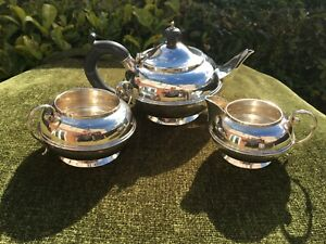 Art Deco 3 Piece Solid Sterling Silver Bachelor Tea Set Birmingham 1922