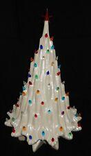 "Ceramic Christmas Tree 21"" Atlantic Mold White Lava Mother of Pearl + base~Mint"