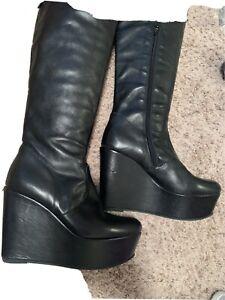 Kooba  black leather wedge boots sz. 6 M $365