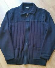 M&S Men's zipped Cardigan Suede/Wool Blend size L Navy blue