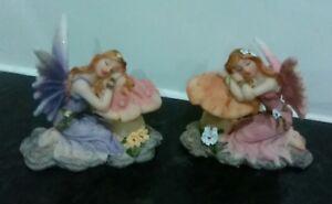 Set Of 2 Fairies Kneeling On A Toadstool - Cute Fairy Ornaments