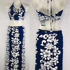New Tiki Hawaiian Sz M Royal Blue Floral Halter Top Wrap Skirt Set Aloha