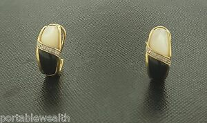 Details about  /14k Yellow Gold Onyx Huggie Dangle Earrings